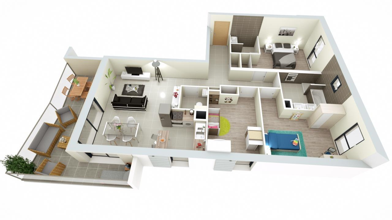 Programme neuf grilly coeur village 23 appartements for Plan appartement 3 chambres