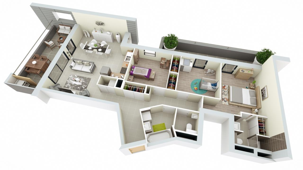 Programme neuf annecy le vieux les voiles d 39 albigny for Plan appartement 3 chambres